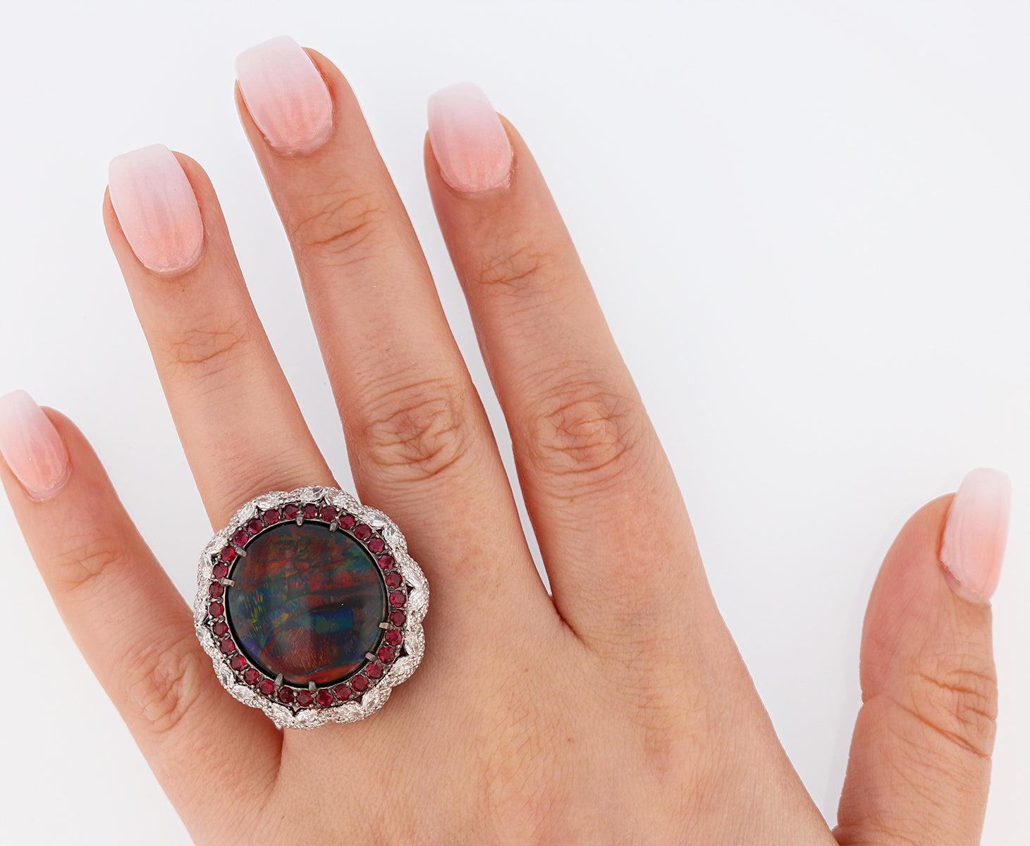 14K White Gold 11.11 Carat Australian Black Opal, Diamond, and Ruby Ring - Nazarelle