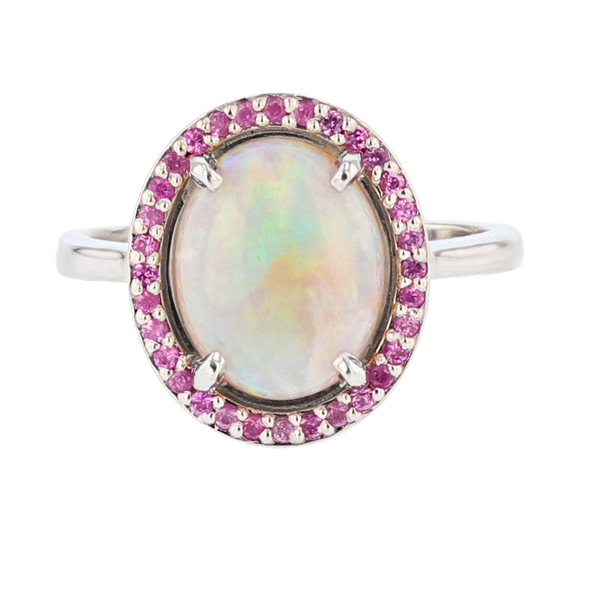 White Opal and Pink Sapphire Ring