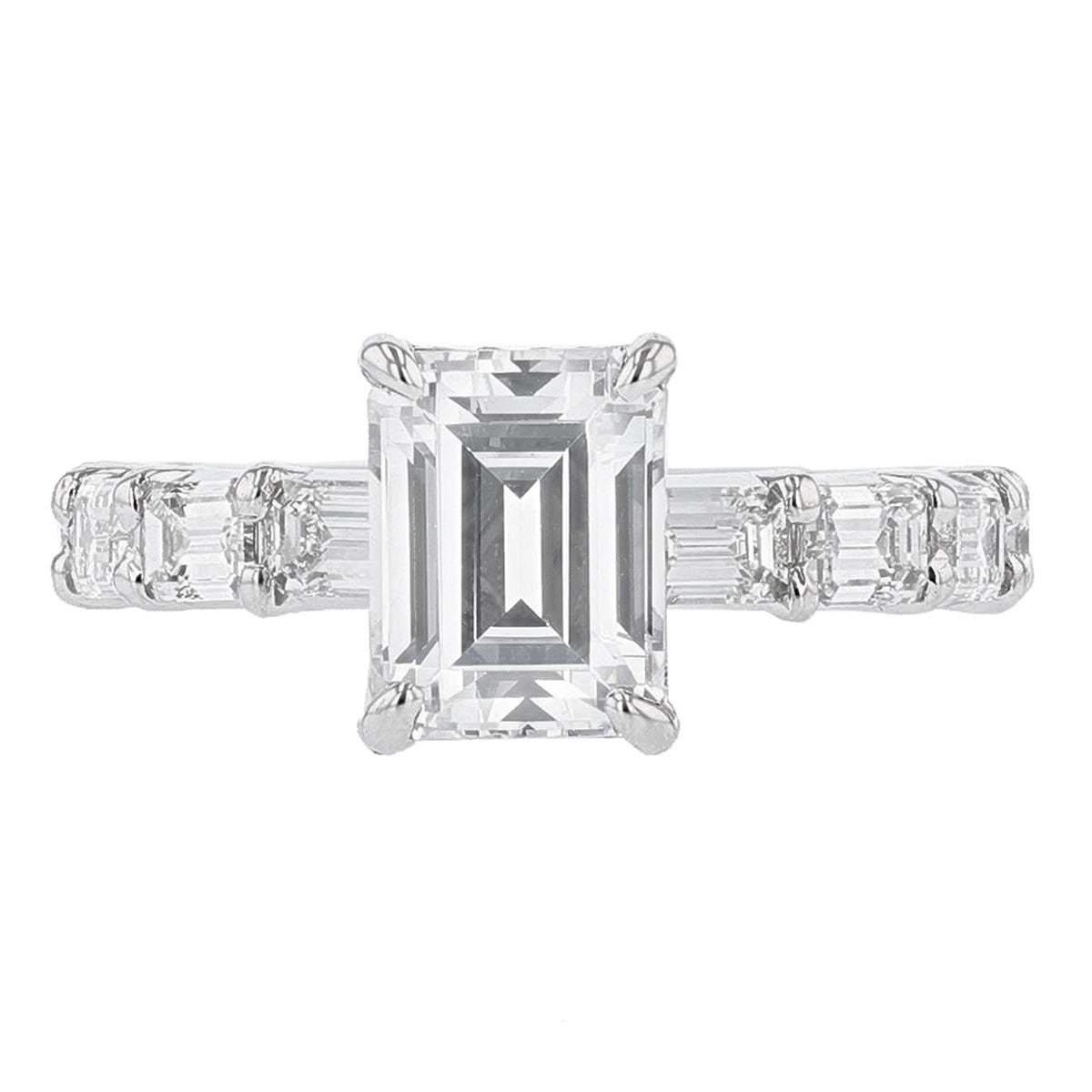 14K White Gold Emerald Cut Diamond Engagement Ring - Nazarelle