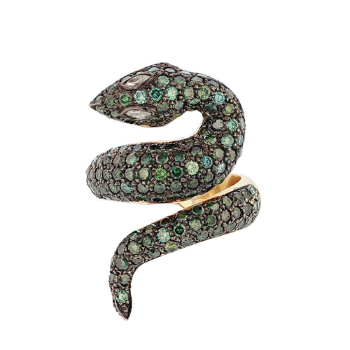 14K Yellow Gold Green Diamond Snake Ring