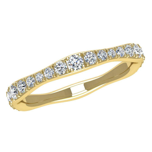 18K Yellow Gold Wave Diamond Band