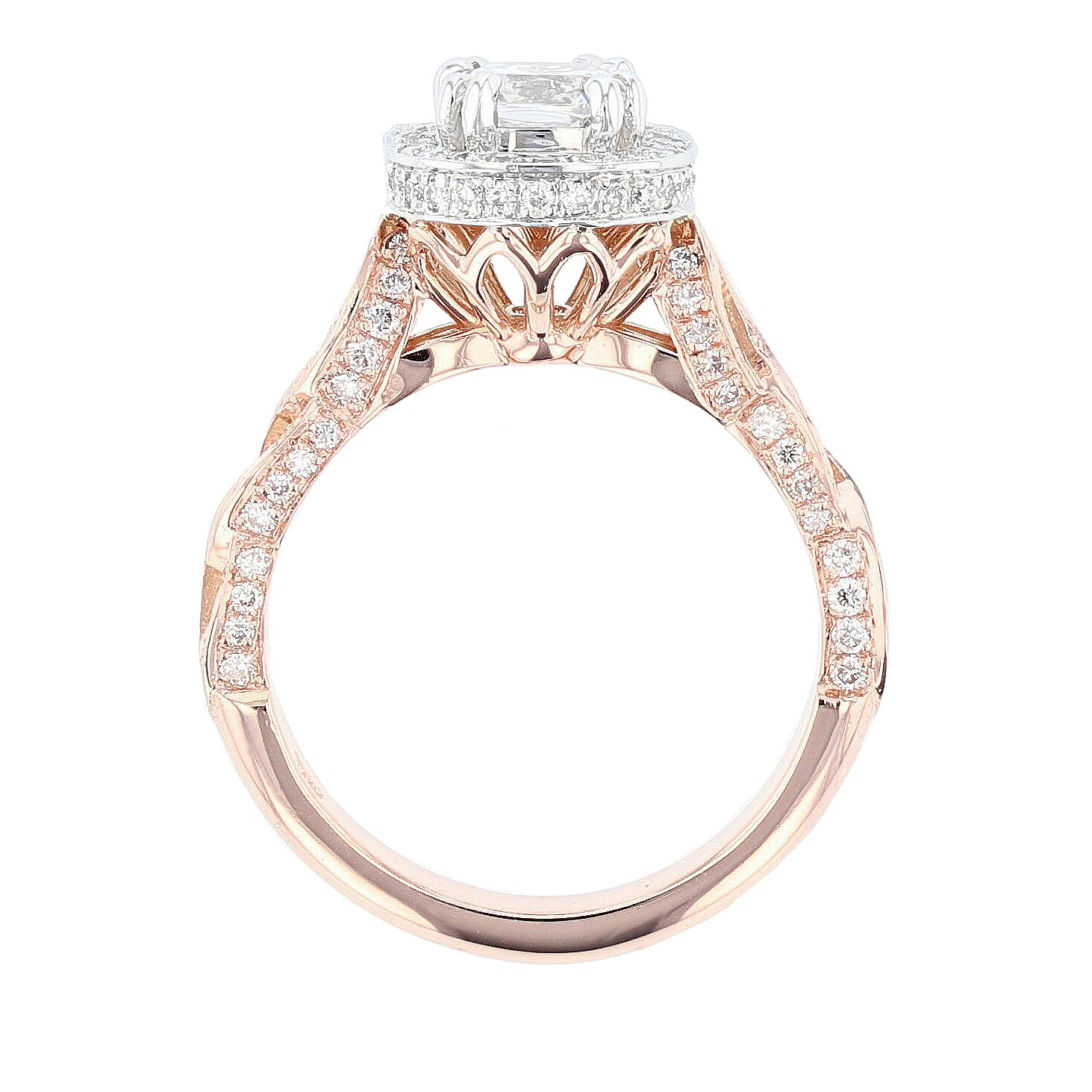 14K Rose and White Gold Cushion Halo Diamond Engagement Ring - Nazarelle