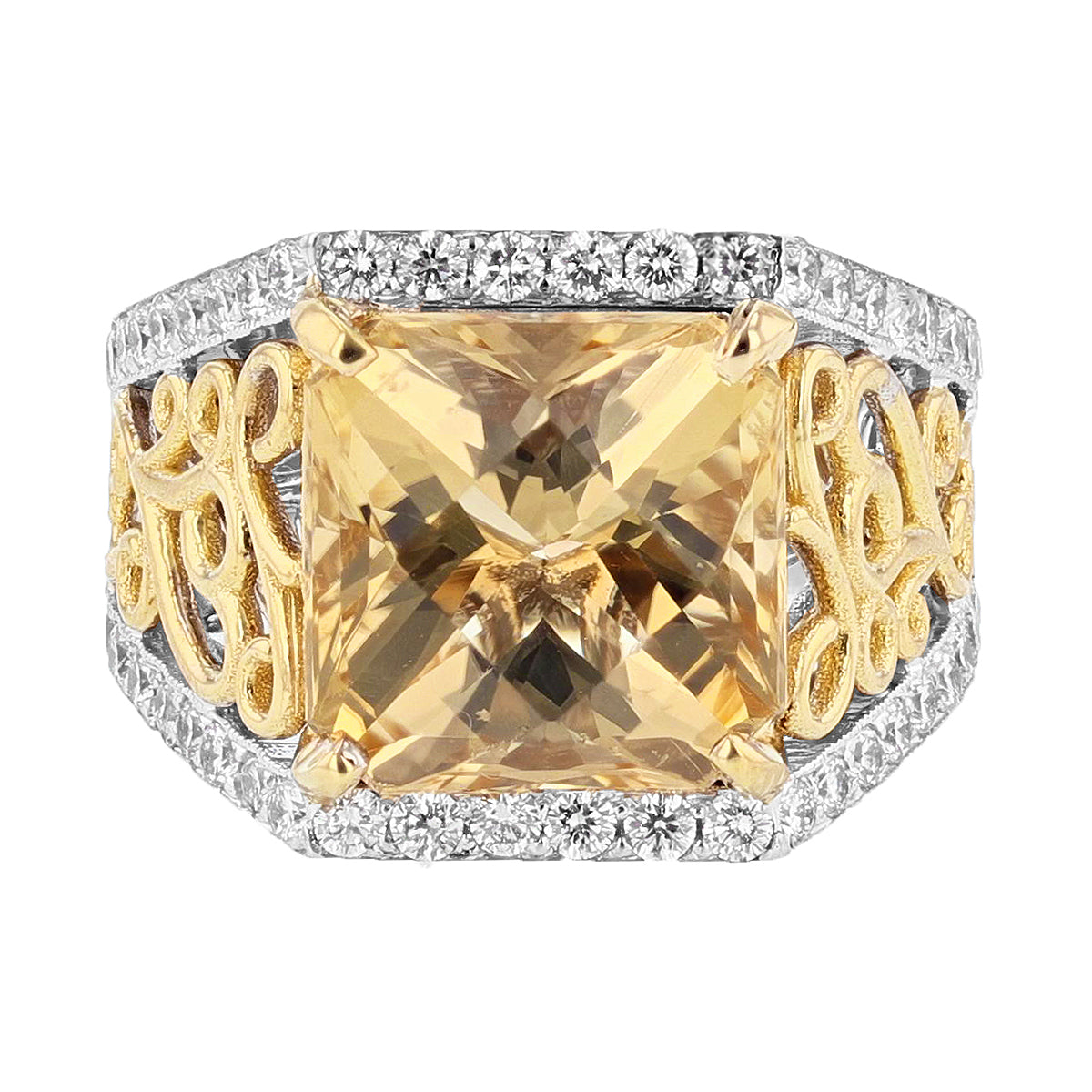 14K White and Yellow Gold Scapolite and Diamond Ring