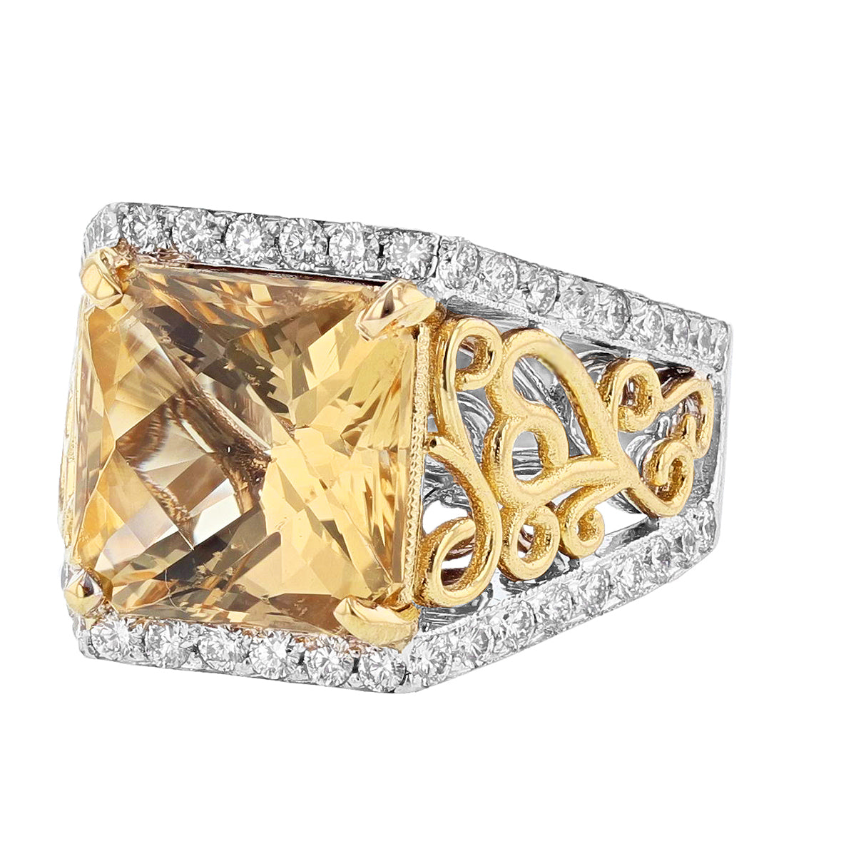 14K White and Yellow Gold Scapolite and Diamond Ring - Nazarelle