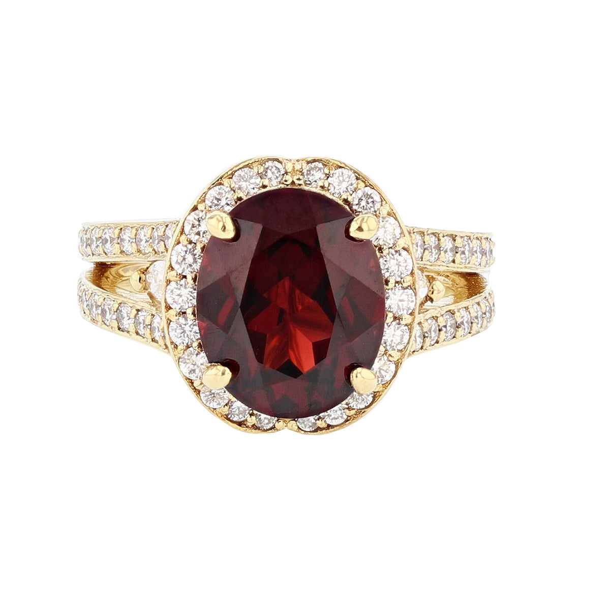 18K Yellow Gold Oval Garnet and Diamond Ring