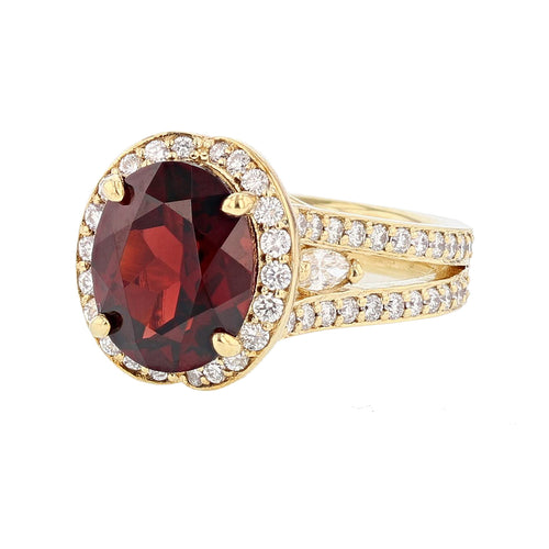 18K Yellow Gold Oval Garnet and Diamond Ring - Nazarelle