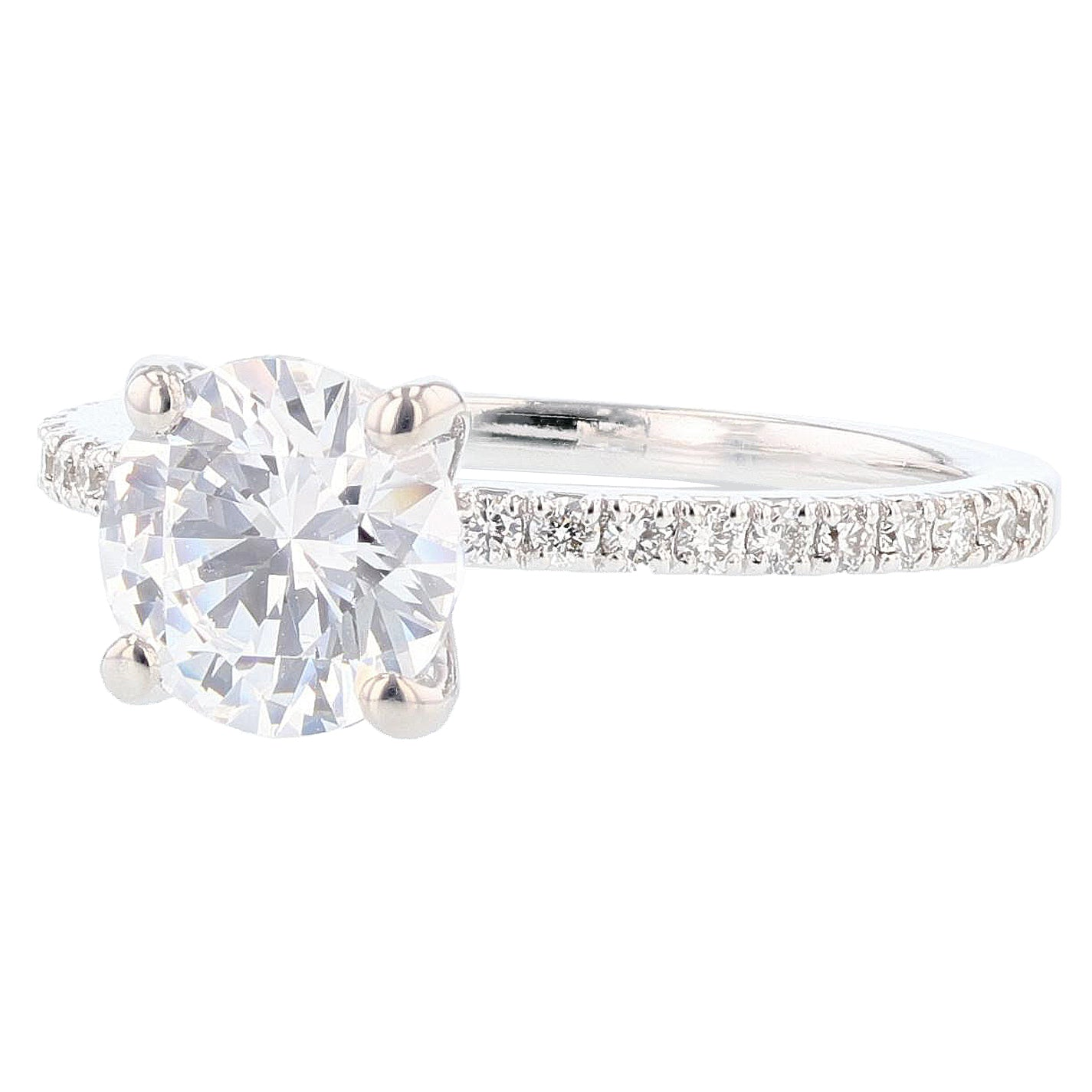 14K White Gold Round Diamond Engagement Ring - Nazarelle