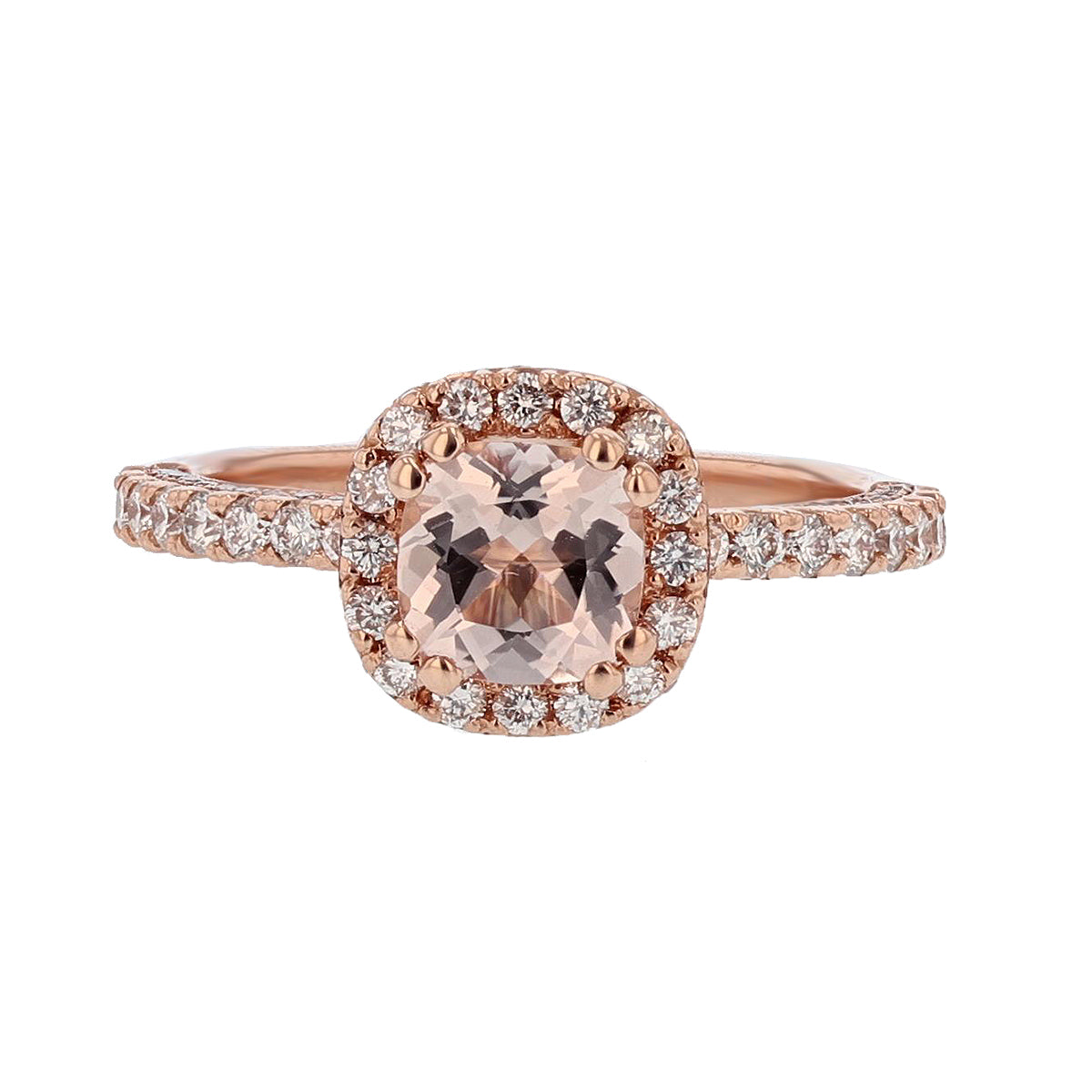 14K Rose Gold Cushion Morganite Engagement Ring