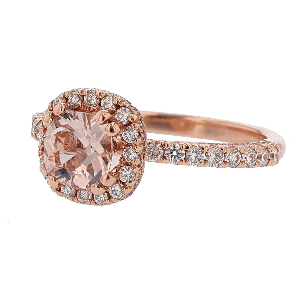 14K Rose Gold Cushion Morganite Engagement Ring - Nazarelle