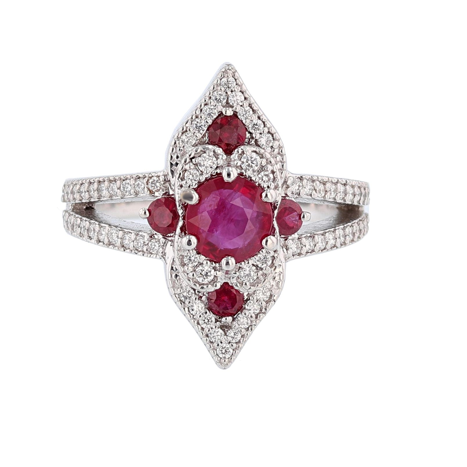 18K White Gold Ruby and Diamond Engagement Ring - Nazarelle