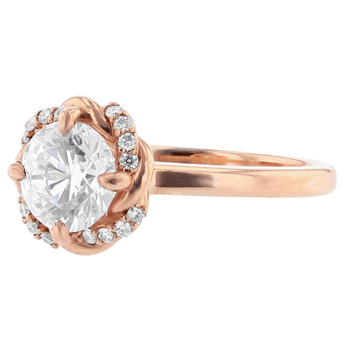 14K Rose Gold Round Diamond Engagement Ring - Nazarelle