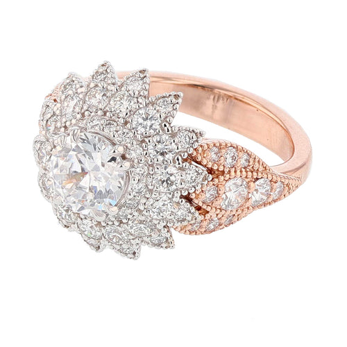 14K Rose and White Gold Round Cut Halo Diamond Engagement Ring - Nazarelle