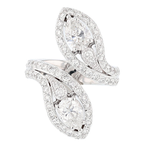 14K White Gold Double Pear Shape Diamond Ring - Nazarelle
