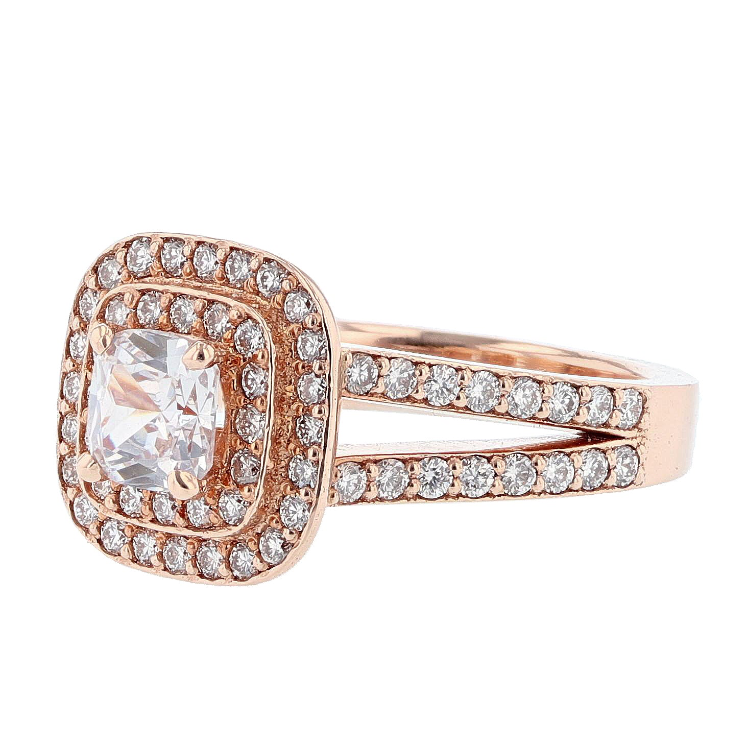 14K Rose Gold Cushion Double Halo Diamond Engagement Ring - Nazarelle