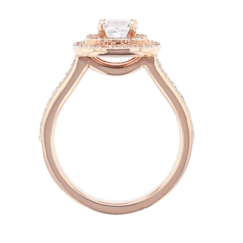 14K Rose Gold Cushion Double Halo Diamond Engagement Ring