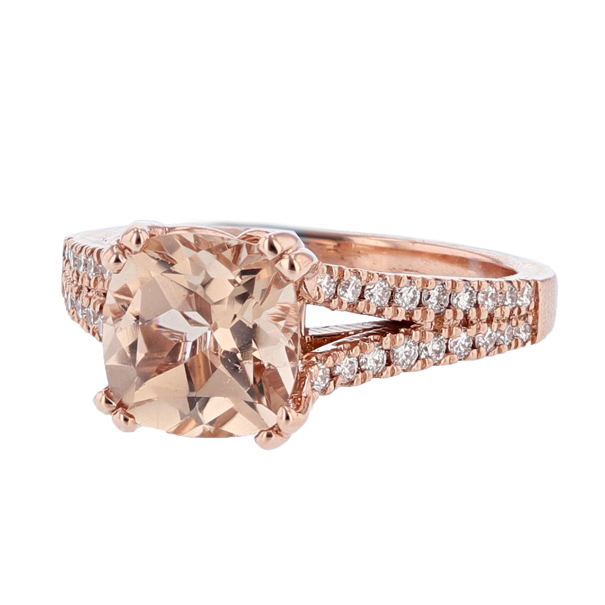 14K Rose Gold 2.08 Carat Cushion Morganite and Diamond Engagement Ring - Nazarelle