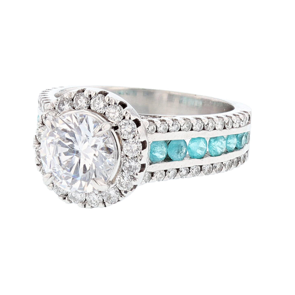 18K White Gold Round Paraiba Tourmaline Diamond Engagement Ring - Nazarelle