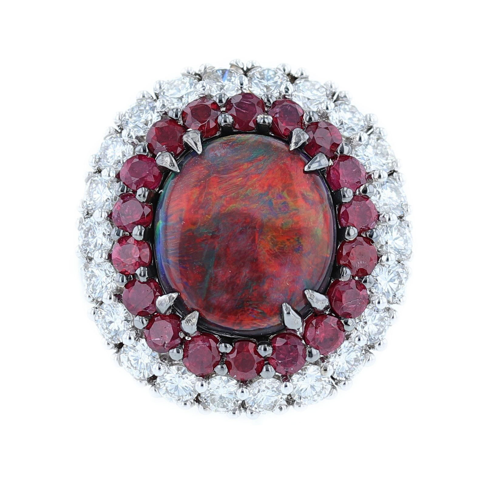 Natural Australian Red Opal, Diamond, and Ruby Ring