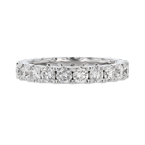 18K White Gold Round Diamond Eternity Band - Nazarelle