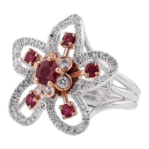 14K White and Rose Gold Ruby and Diamond Flower Ring - Nazarelle