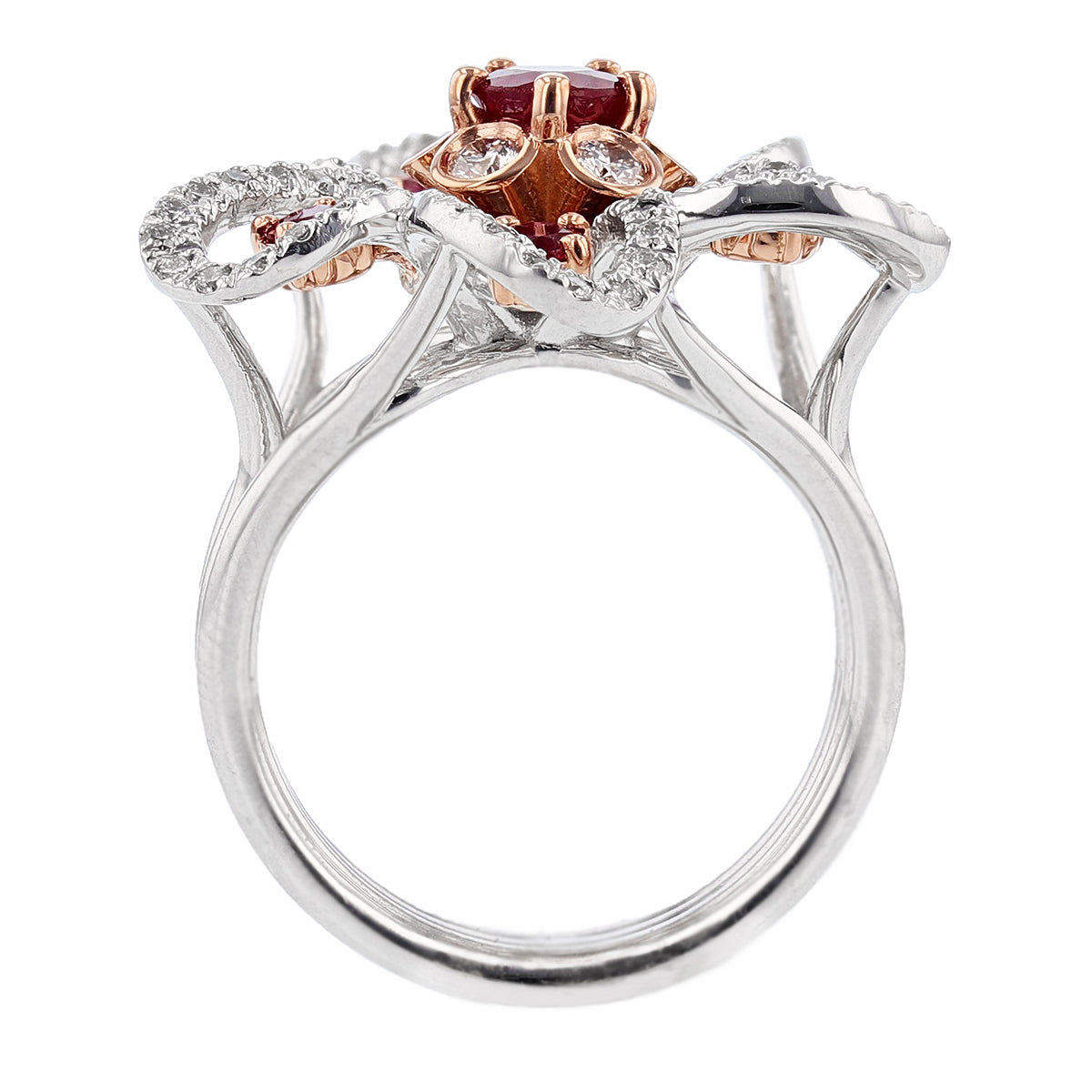 14K White and Rose Gold Ruby and Diamond Flower Ring