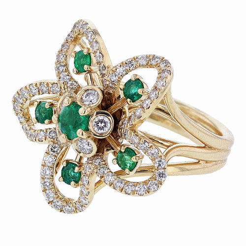 18K Yellow Gold Emerald and Diamond Flower Ring