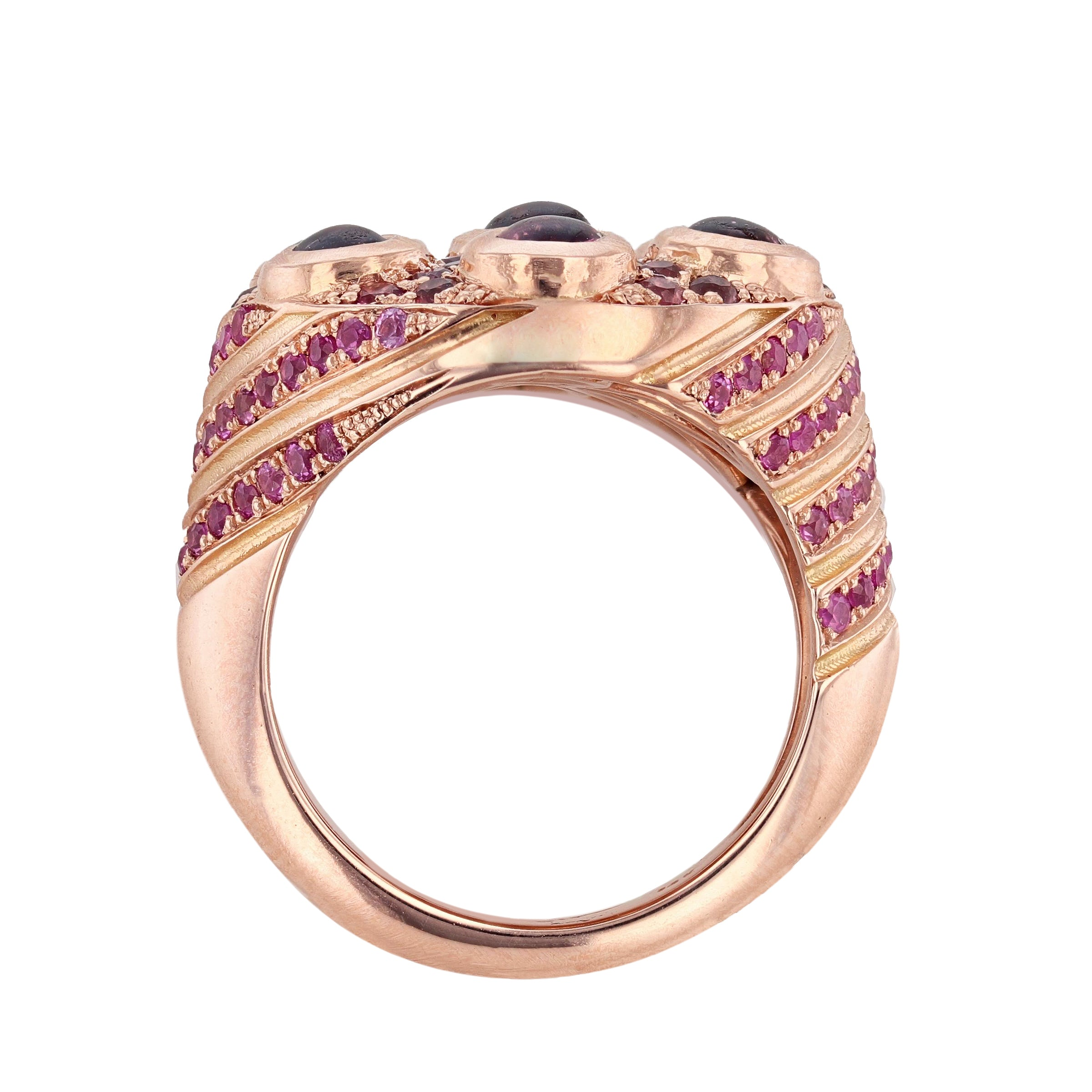 14K Rose Gold Pink Tourmaline, Pink Sapphire, and Diamond Ring