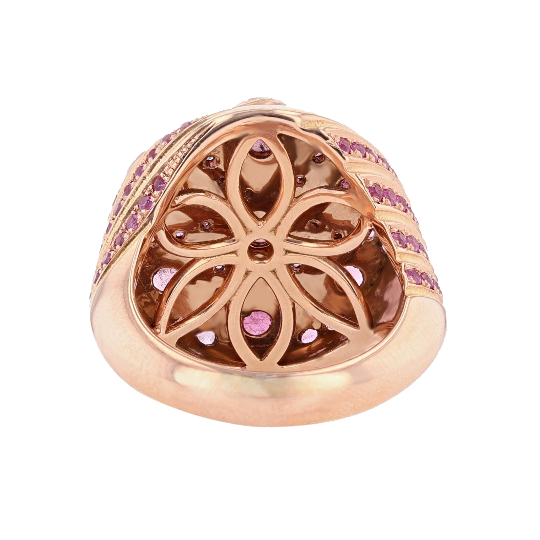 14K Rose Gold Pink Tourmaline, Pink Sapphire, and Diamond Ring - Nazarelle