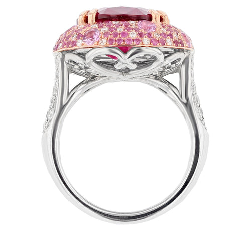 Pink Tourmaline, Pink Sapphire, and Diamond Ring