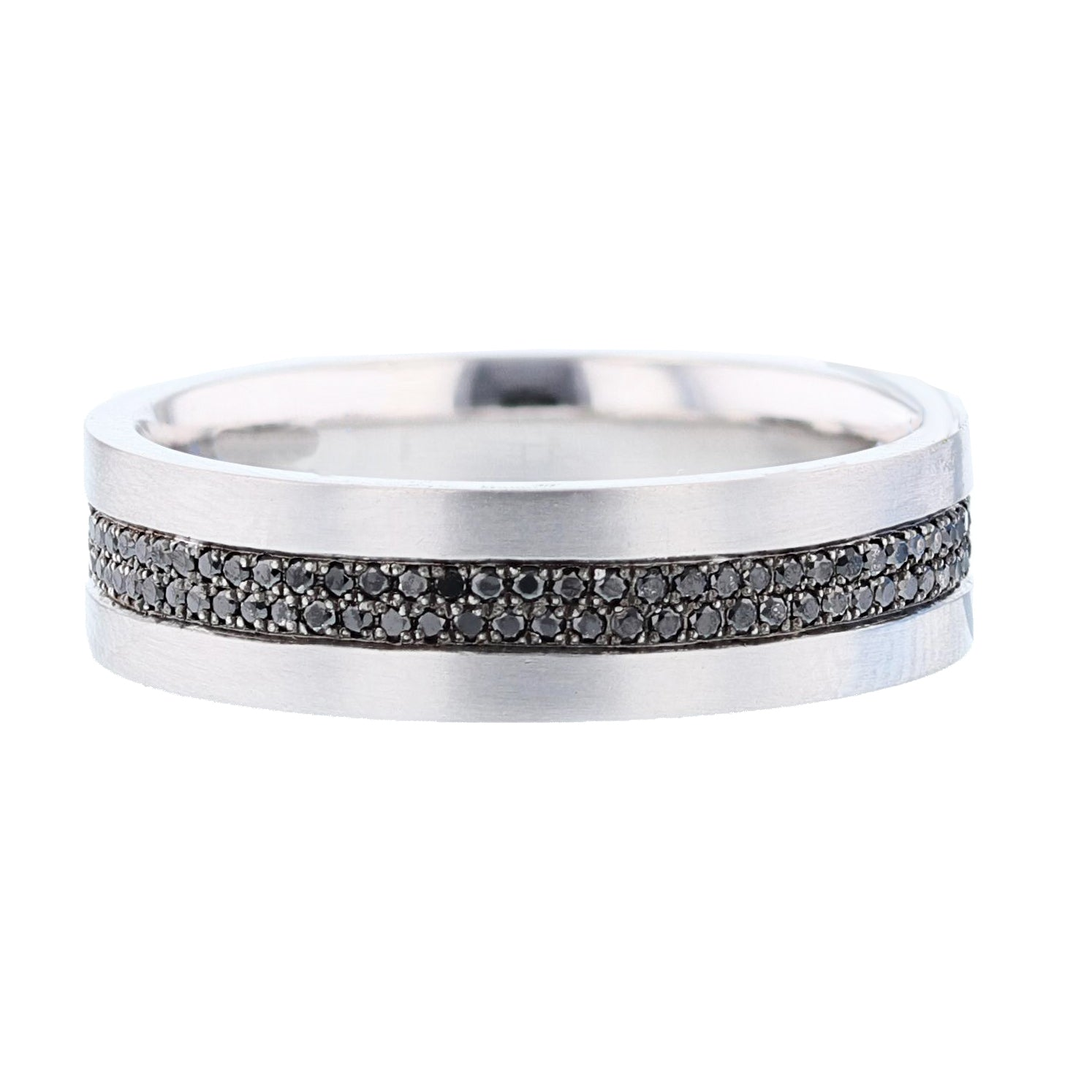 Men's 14K White Gold Black Diamond Band - Nazarelle