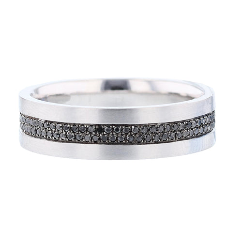 Men's 14K White Gold Black Diamond Band