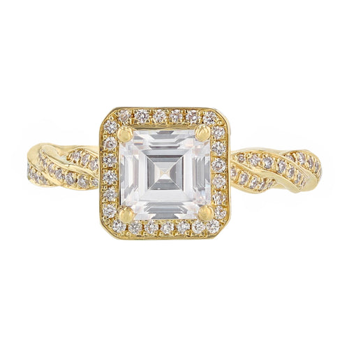 18K Yellow Gold Asscher Cut Diamond Engagement Ring - Nazarelle