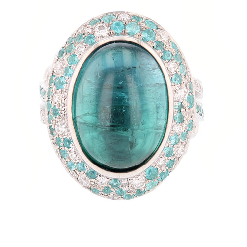 Cabachon Blue Tourmaline and Diamond Ring
