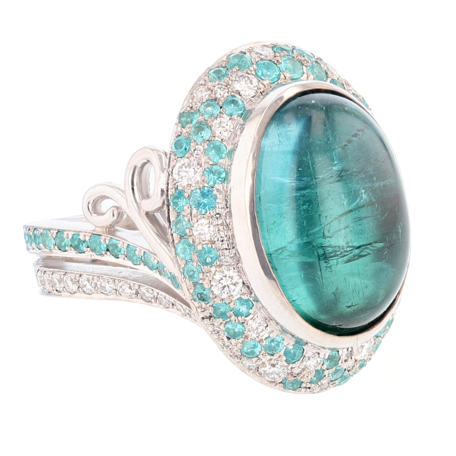 Cabachon Blue Tourmaline and Diamond Ring - Nazarelle