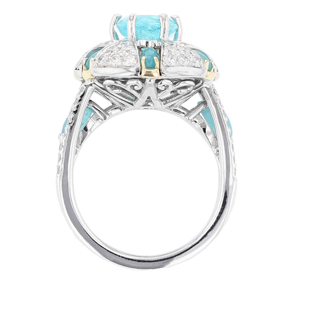 One of a Kind Round and Marquise Paraiba Tourmaline and Diamond Ring