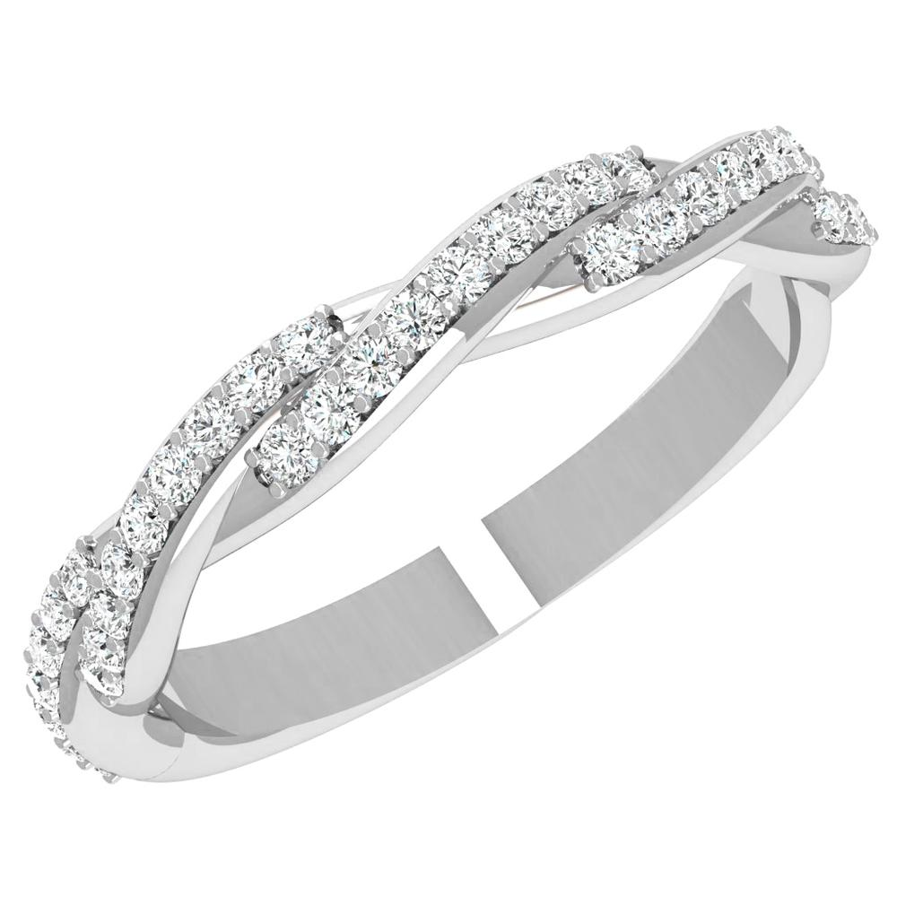 18K White Gold Diamond Twist Band - Nazarelle