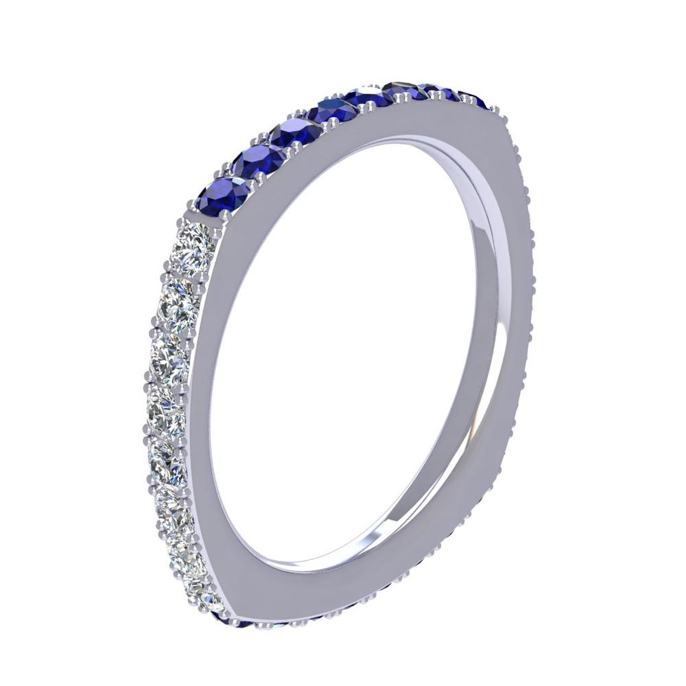 18K White Gold Diamond and Sapphire Band