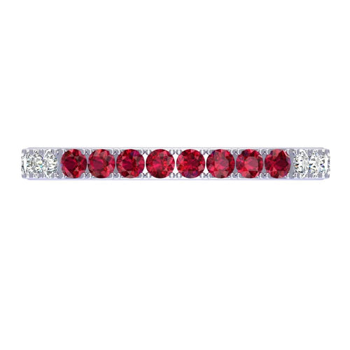18K White Gold Diamond and Ruby Band - Nazarelle