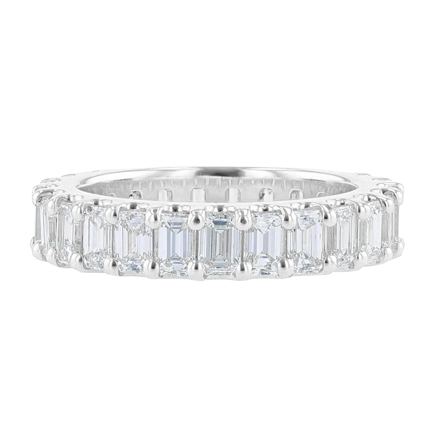 18K White Gold Emerald Cut Eternity Diamond Band - Nazarelle