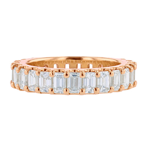 14K Rose Gold Emerald Cut Eternity Diamond Band - Nazarelle