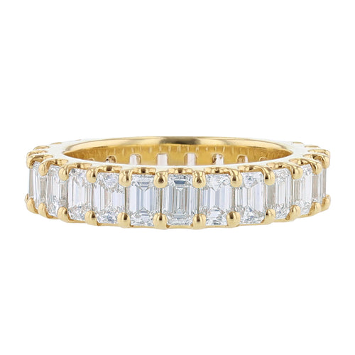 18K Yellow Gold Emerald Cut Eternity Diamond Band - Nazarelle