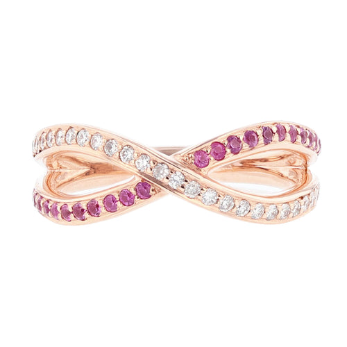 14K Rose Gold Pink Sapphire and Diamond Criss Cross Ring