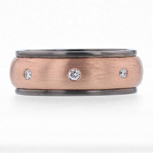 Men's 14K Rose and Black Gold and Diamond Band