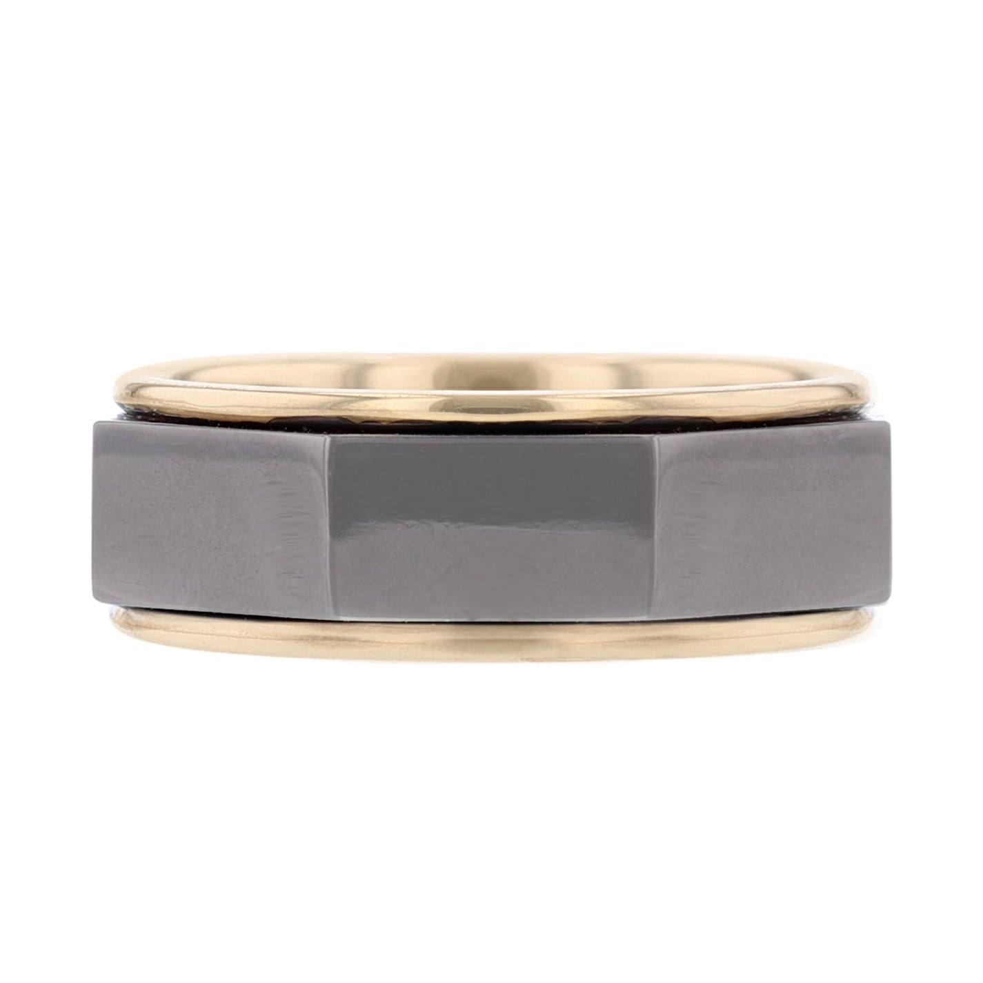 Men's 14K Black and Yellow Gold Polished Band - Nazarelle