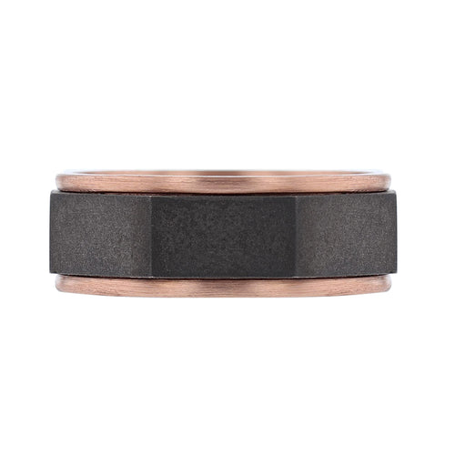 Men's 14K Black and Rose Gold Band