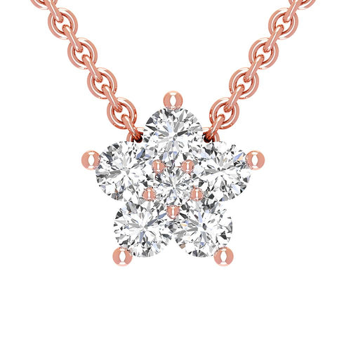 14K Rose Gold Diamond Star Necklace - Nazarelle