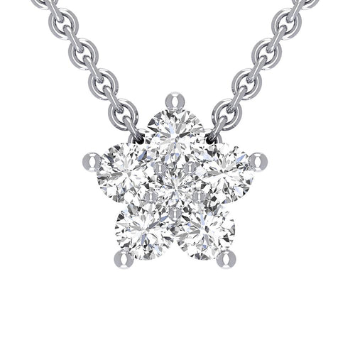18K White Gold Diamond Star Necklace - Nazarelle