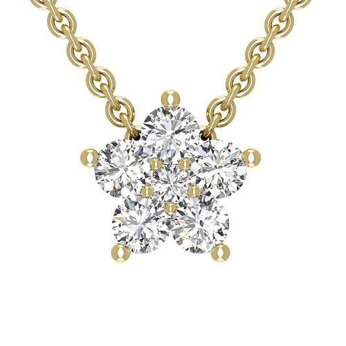 18K Yellow Gold Diamond Star Necklace - Nazarelle