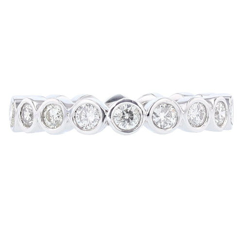 14K White Gold Diamond Bezel Eternity Band - Nazarelle