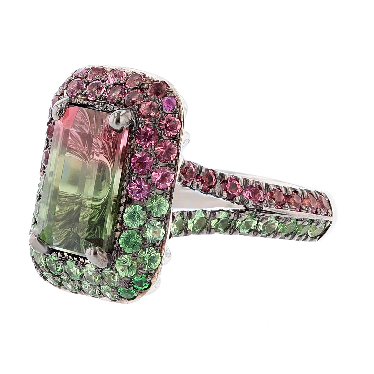 Watermelon Tourmaline, Pink Tourmaline, and Tsavorite Ring